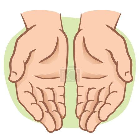 Illustration pour Paire de mains de caractère avec paume exposée, demande ou don. Idéal pour l'information et institutionnel - image libre de droit