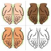 Die paar Zeichen der Hände mit exponierten Palm, Anfrage oder Spende. Ideal für Informations- und institutionellen