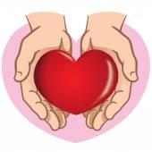 Figur paar Hände halten ein Herz. Ideal für Informations- und institutionellen