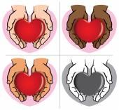 Figur paar Hände halten ein Herz, Ethnien. Ideal für Informations- und institutionellen