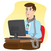 Illustration representing executive officer trapped chained to your desk Ideal for institutional and administrative materials