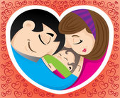 Illustration icon is representing love and family and a heart Ideal for promotional and institutional materials