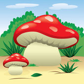 Illustration is a landscape of nature with mushrooms in the woods Ideal for children's books and institutional material