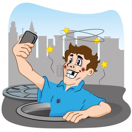 Illustration depicting person photographing selfie after falling in the hole. Ideal for institutional materials and communications