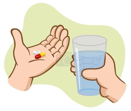Illustration pour Illustration Premiers soins mains tenant des pilules médicinales avec un verre d'eau. Idéal pour catalogues, guides informatifs et médicaux - image libre de droit