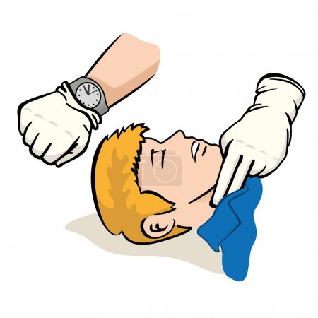 First Aid illustration person measuring the pulse ...