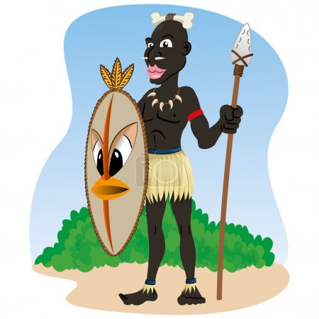Illustration representing African indigenous African culture warrior holding spear and shield