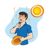 First aid scene illustration shows a worker person with heat stroke and heat Ideal for catalogs informative and medical guides