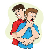 First aid scene illustration shows a person with their osbtruida airways Heimlich maneuver Ideal for catalogs informative and medical guides