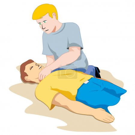 First Aid person passed out, feel the pulse. Ideal for catalogs, informative and medical guides
