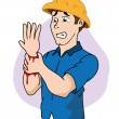 Illustration First Aid person arm cutting wound, b...