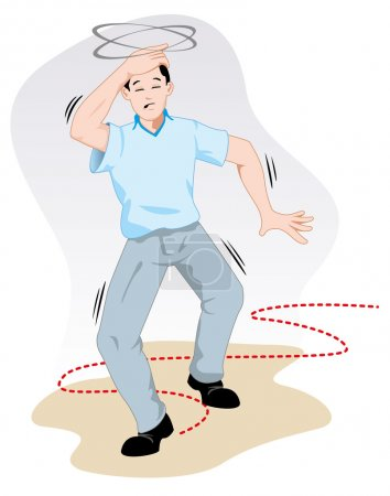First aid scene illustration shows a person reeling with dizziness. Ideal for catalogs, informative and medical guides.