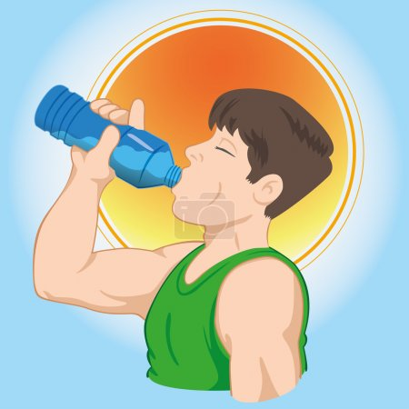 Illustration representing man athlete drinking water and hydrating. Ideal for catalogs, informative and medical guides.