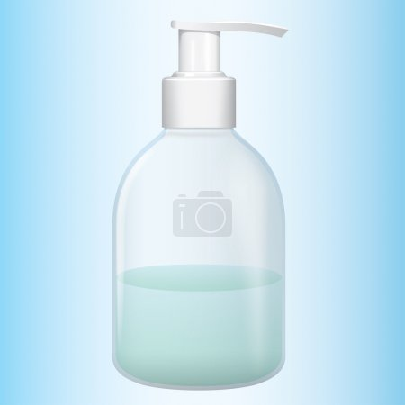 Illustration object liquid soap cosmetic packaging, pump. Ideal for catalogs, newsletters and catalogs 3D packaging