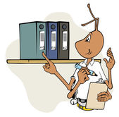 Illustration mascot ant with clipboard and inspecting files Ideal for catalogs informative and institutional material