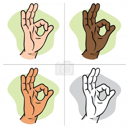 Illustration hands making an okay sign, ethnicity. Ideal for catalogs, informative and institutional material