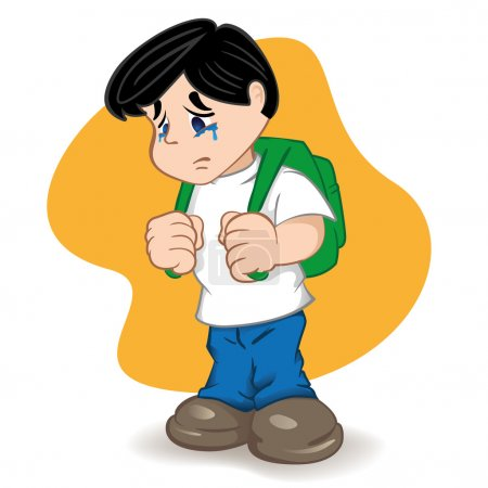 Illustration of a student sad and crying child. Ideal for catalogs, informational, educational and institutional material