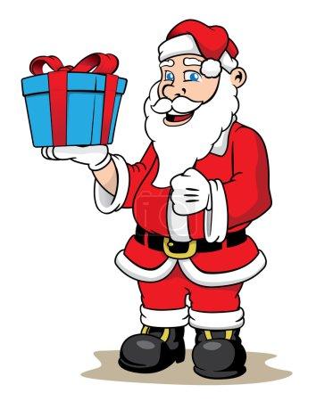Illustration Santa Claus giving a Christmas present. Ideal Christmas seasonal materials