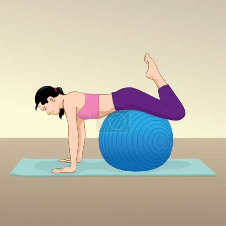 Woman doing exercises and physiotherapy gym with pilates ball material. Ideal for catalogs and educational material and institutional