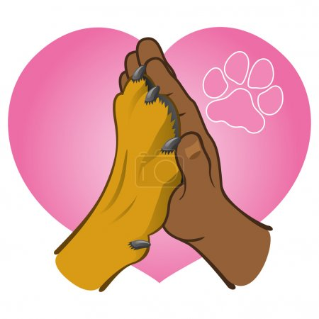 Illustration human hand holding a paw, heart, African descent. Ideal for catalogs, informative and veterinary institutional material