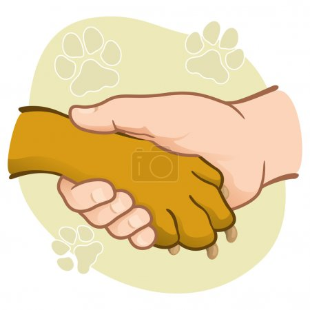 Illustration human hand holding a paw, heart, caucasian. Ideal for catalogs, informative and veterinary institutional material