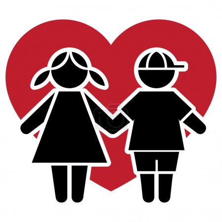 Icon pictogram couple kids with heart and love. Ideal for catalogs, informative and institutional material
