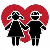 Icon pictogram couple kids with heart and love Ideal for catalogs informative and institutional material