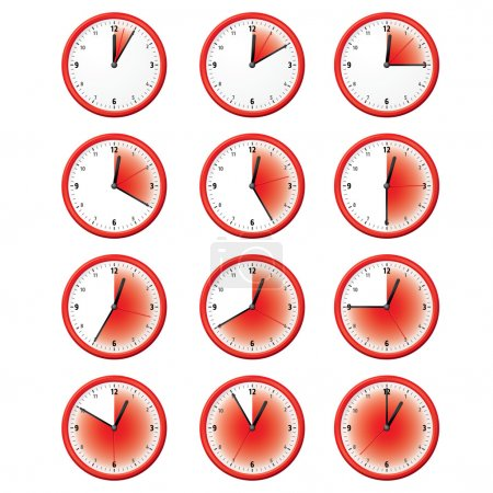 Illustration of a clock at different times minutes. Can be used in ads and institutional