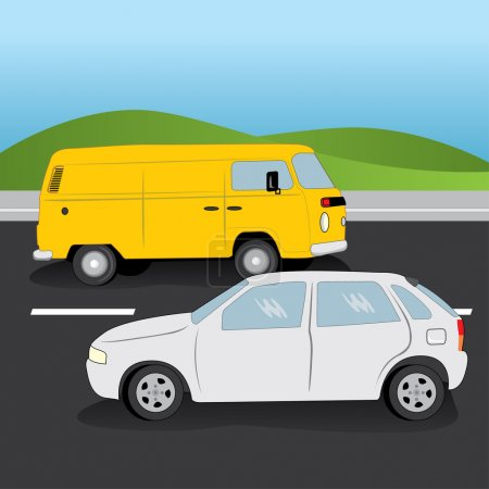 Illustration of car and van vehicles in a two-way road. Ideal for catalogs, informational and institutional material