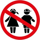 Icon pictogram plate prohibited children boy and girl genders Ideal for catalogs informational and institutional material