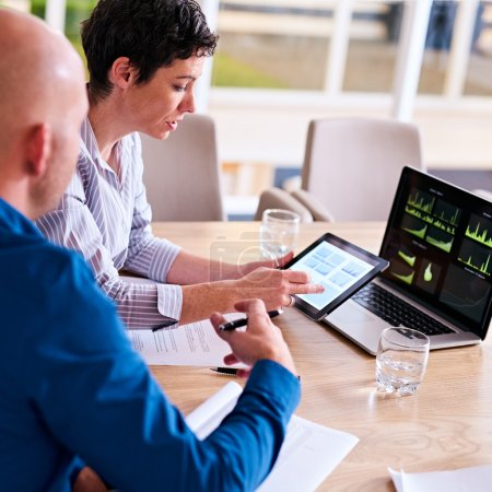 mature businesswoman assess company's financial analysis
