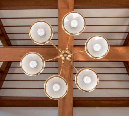 Light chandelier ceiling under roof