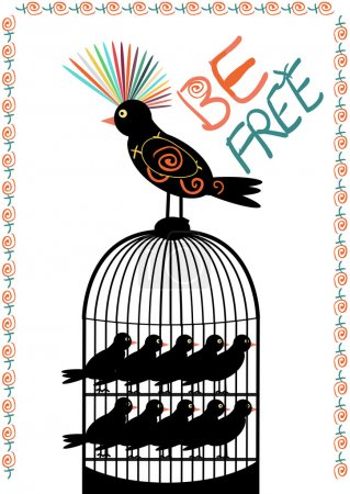 Illustration for Colourful bird out of cage full of alike birds locked inside - illustrating freedom from similarity in our society. Vector, EPS 8 - Royalty Free Image