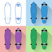 Short skateboards boards collection - flat vector illustration with long shadows