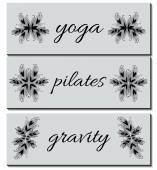 Collection of Banners (business cards) with Hand-drawn Ornaments - Pilates Yoga Gravity Vector Illustration