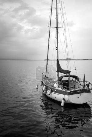 Sailing moored. Black and white photo