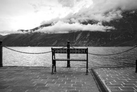 Bench over the lake shores. Black and white photo