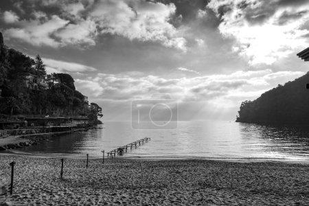 Paraggi beach, Ligurian Sea, wintertime. Black and white photo