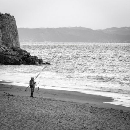 Fisherman. Black and white photo