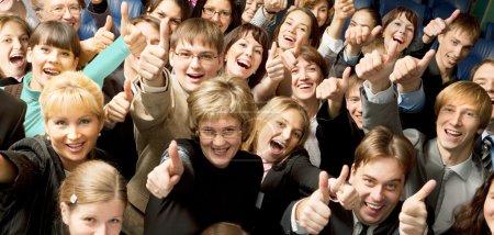 Foto de Gran grupo de personas de negocios se reúnen en la conferencia telefónica - Imagen libre de derechos