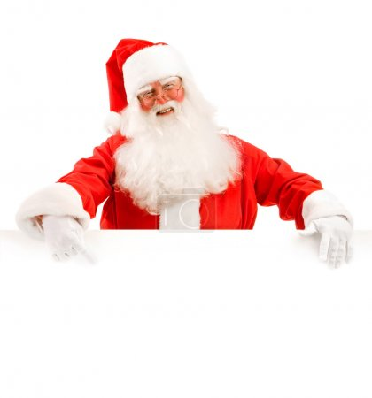 Santa Claus Holding a Advertising Space