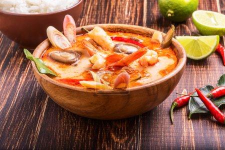 Thai Tom Yam soup with shrimp and shiitake mushroo...