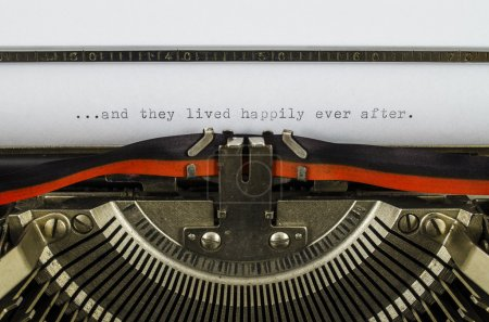 And they lived happily ever after word printed on old typewriter