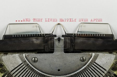 ...and they lived happily ever after word printed on an old typewriter