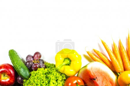 Photo for Beautiful frame of fresh fruits and vegetables on white background - Royalty Free Image