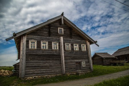Wooden architecture Nordic countries. Russian wooden houses, churches, barns, sheds.