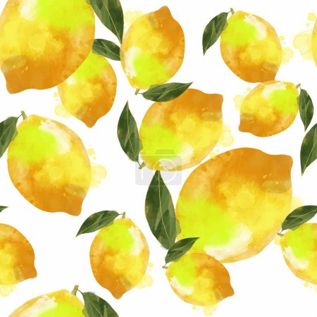 Illustration for Watercolor vector lemon pattern - Royalty Free Image