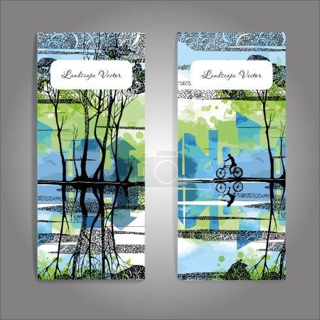 Illustration for Vector landscape background with bike. Banner design - Royalty Free Image
