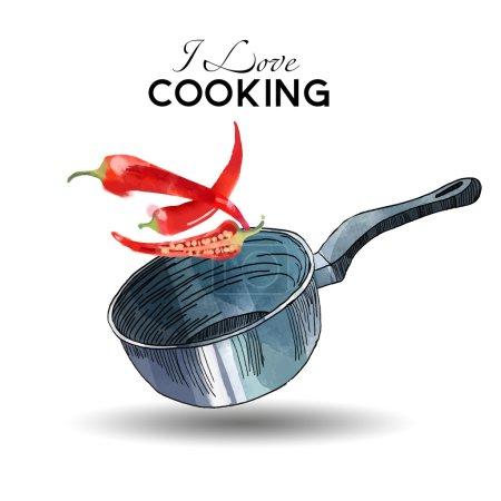 Fond de cuisine aquarelle
