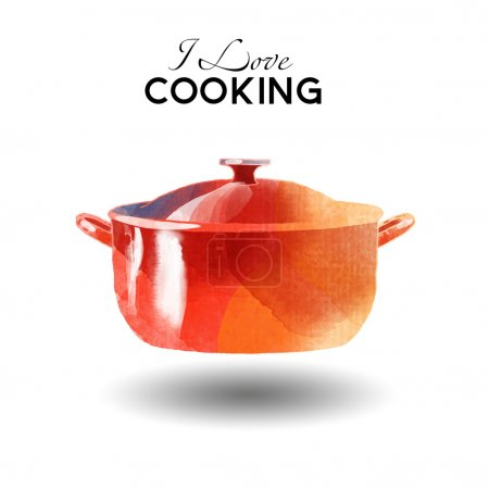 I love Cooking watercolor  background